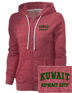 Kuwait Embroidered Women's Marled Full-Zip Hooded Sweatshirt