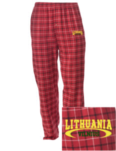 Lithuania Embroidered Men's Button-Fly Collegiate Flannel Pant