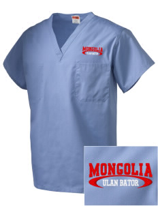 Mongolia Embroidered V-Neck Scrub Top