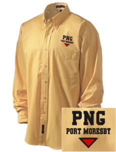 Papua New Guinea Embroidered Men's Easy-Care Shirt