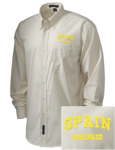 Spain  Embroidered Men's Easy Care, Soil Resistant Shirt