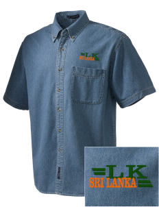 Sri Lanka  Embroidered Men's Denim Short Sleeve