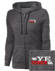 Yemen Embroidered Women's Marled Full-Zip Hooded Sweatshirt
