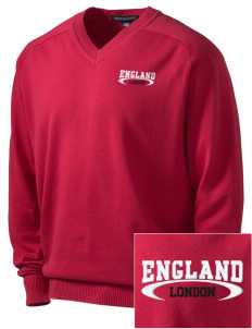 England Embroidered Men's V-Neck Sweater