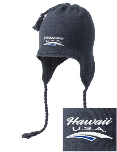 Hawaii Embroidered Knit Hat with Earflaps