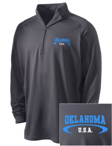 Oklahoma Embroidered Men's Stretched Half Zip Pullover