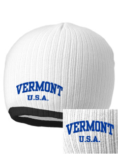 Vermont Embroidered Champion Striped Knit Beanie