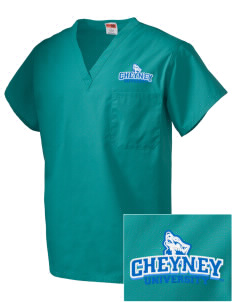 Cheyney University Wolves Embroidered V-Neck Scrub Top