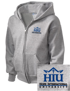 Hope International University Royals  Embroidered Kid's Full Zip Hooded Sweatshirt