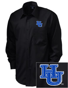 Hampton University Pirates  Embroidered Men's Long Sleeve Non-Iron Twill Shirt