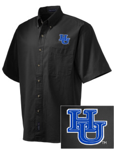 Hampton University Pirates Embroidered Men's Short Sleeve Twill Shirt