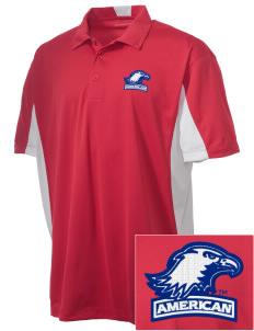 American University Eagles Embroidered Men's Side Blocked Micro Pique Polo