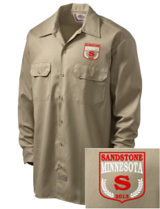Sandstone Embroidered Dickies Men's Long-Sleeve Workshirt