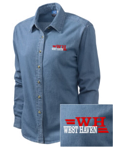 West Haven Embroidered Women's Long-Sleeve Denim Shirt