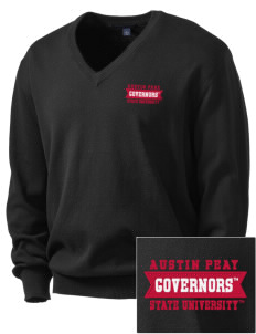 Austin Peay State University Governors Embroidered Men's V-Neck Sweater