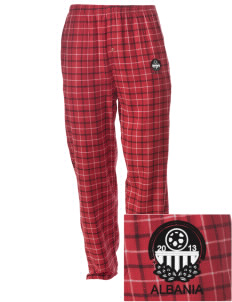 Albania Soccer Embroidered Men's Button-Fly Collegiate Flannel Pant