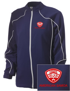 American Samoa Soccer Embroidered Russell Women's Full Zip Jacket