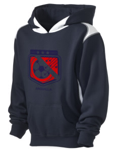 Anguilla Soccer Kid's Pullover Hooded Sweatshirt with Contrast Color