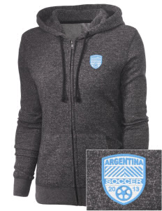 Argentina Soccer Embroidered Women's Marled Full-Zip Hooded Sweatshirt