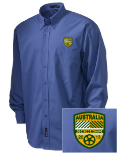 Australia Soccer  Embroidered Men's Easy Care, Soil Resistant Shirt