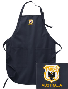 Australia Soccer Embroidered Full-Length Apron with Pockets