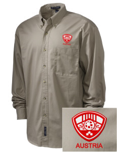 Austria Soccer Embroidered Men's Twill Shirt