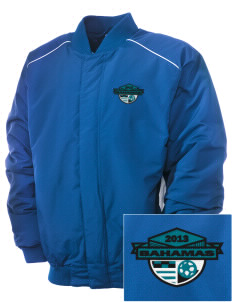 Bahamas Soccer Embroidered Russell Men's Baseball Jacket