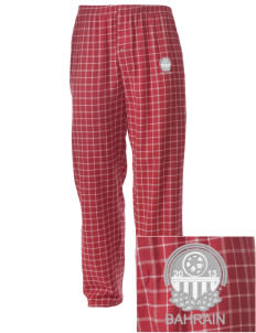 Bahrain Soccer Embroidered Men's Button-Fly Collegiate Flannel Pant