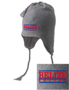 Belize Soccer Embroidered Knit Hat with Earflaps