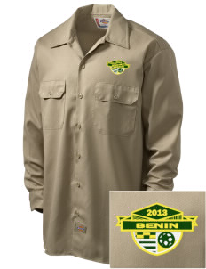Benin Soccer Embroidered Dickies Men's Long-Sleeve Workshirt