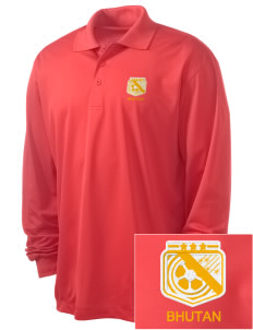 Bhutan Soccer Embroidered Men's Long Sleeve Micropique Sport-Wick Sport Shirt