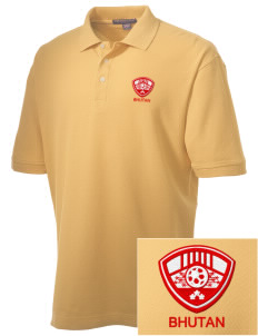 Bhutan Soccer Embroidered Men's Performance Plus Pique Polo