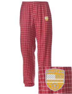Bhutan Soccer Embroidered Men's Button-Fly Collegiate Flannel Pant