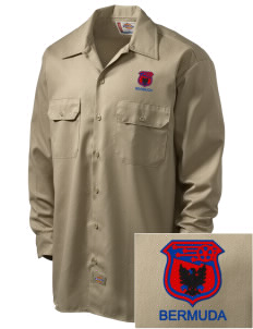 Bermuda Soccer Embroidered Dickies Men's Long-Sleeve Workshirt