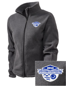Bosnia-Herzegovina Soccer Embroidered Women's Fleece Full-Zip Jacket