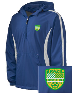 Brazil Soccer Embroidered Men's Colorblock Raglan Anorak