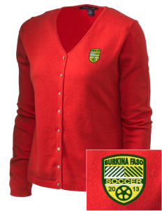 Burkina Faso Soccer Embroidered Women's Stretch Cardigan Sweater