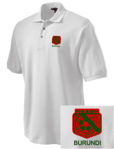 Burundi Soccer Embroidered Tall Men's Pique Polo