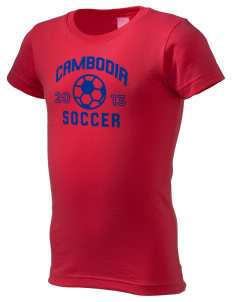 Cambodia Soccer  Girl's Fine Jersey Longer Length T-Shirt