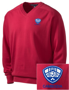 Cambodia Soccer Embroidered Men's V-Neck Sweater