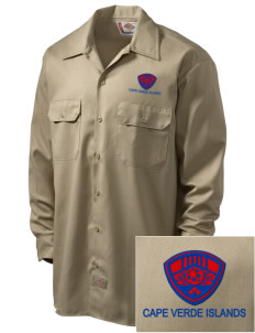 Cape Verde Islands Soccer Embroidered Dickies Men's Long-Sleeve Workshirt
