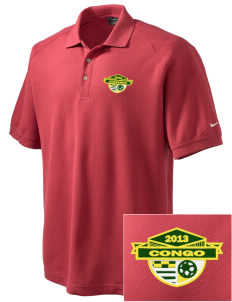 Congo Soccer Embroidered Nike Men's Pique Knit Golf Polo