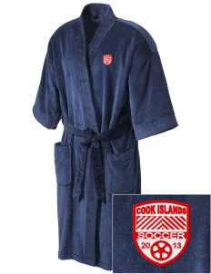 Cook Islands Soccer Embroidered Terry Velour Robe