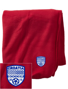 Croatia Soccer Embroidered Holloway Stadium Fleece Blanket