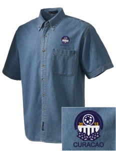 Curacao Soccer  Embroidered Men's Denim Short Sleeve