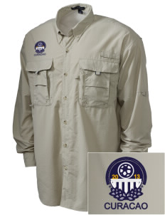 Curacao Soccer Embroidered Men's Explorer Shirt with Pockets