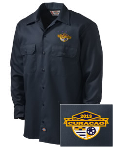Curacao Soccer Embroidered Dickies Men's Long-Sleeve Workshirt