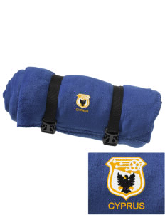 Cyprus Soccer Embroidered Fleece Blanket with Strap