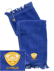 Cyprus Soccer  Embroidered Grommeted Finger Tip Towel