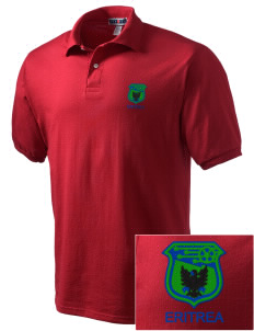 Eritrea Soccer Embroidered Men's Jersey Polo